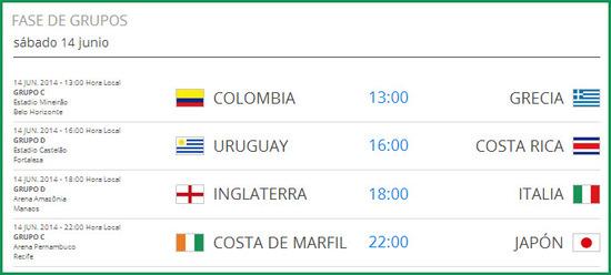 partidos de colombia en el mundial de brasil