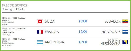 Partidos del mundial de brasil, el domingo 15 de junio de 2014