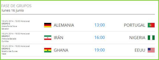 Partidos del mundial de fútbol el lunes 16 de junio de 2014