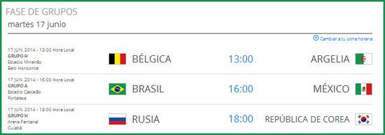 Partidos del mundial de fútbol del martes 17 de junio de 2014