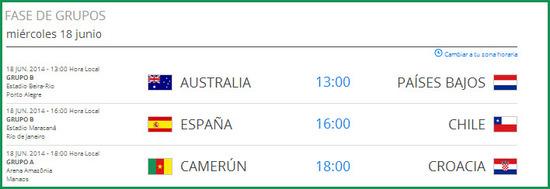 Partidos del mundial de fútbol brasil 2014