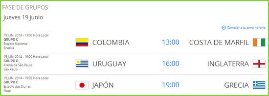 Partidos del mundial de fútbol jueves 19 de junio de 2014