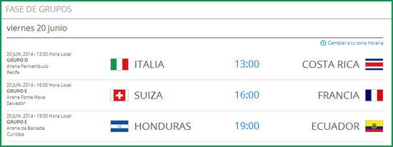 Partidos del mundial de futbol el viernes 20 de junio de 2014