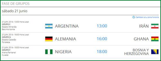 Partidos del mundial de fútbol del sábado 21 de junio de 2014