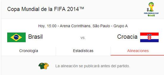 Copa mundial de Futbol de la FIFA, jueves 12 de Junio de 2014