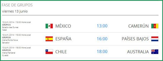 Partidos del 13 de junio de 2014, en el mundial de futbol