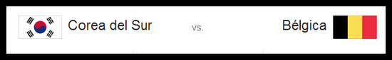 Partido Corea del Sur vs Bélgica hoy jueves 26 de junio de 2014