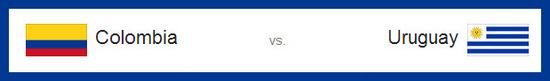 Partido de octavos de final entre Colombia vs Uruguay hoy sábado 27 de junio de 2014