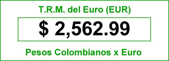 TRM euro para hoy viernes 2014-06-27