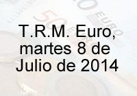 TRM Euro Colombia, martes 8 de Julio de 2014