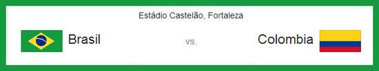 mañana partido entre Brasil vs Colombia el 4 de Julio de 2014