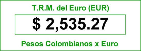 Tasa representativa del mercado del euro en Colombia para el jueves 03 de julio de 2014