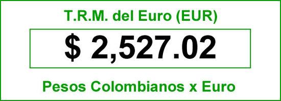 TRM Euro de hoy Jueves 17 de 2014