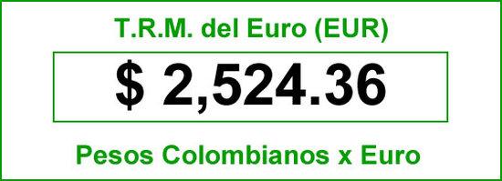 TRM Euro hoy miércoles 9 de julio de 2014