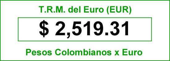 TRM Euro para hoy sábado 12 de Julio de 2014