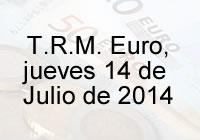 TRM Euro Colombia, jueves 14 de agosto de 2014