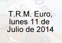 TRM Euro Colombia, lunes 11 de agosto de 2014