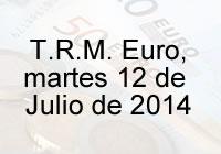 TRM Euro Colombia, martes 12 de agosto de 2014