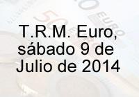 TRM Euro Colombia, sábado 9 de agosto de 2014