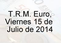 TRM Euro Colombia, viernes 15 de agosto de 2014