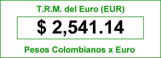 t.r.m. del Euro en colombia para el  domingo 17 de agosto de 2014