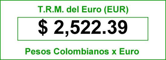t.r.m. del Euro en colombia para el jueves 7 de agosto de 2014