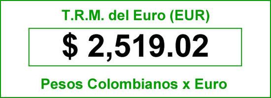t.r.m. del Euro en colombia para el lunes 11 de agosto de 2014