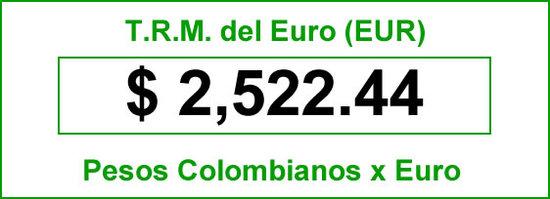 TRM del Euro para hoy sábado 16 de agosto de 2014