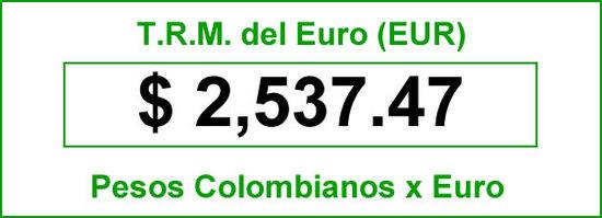 TRM del Euro hoy sábado 2014-07-09