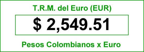 t.r.m. del Euro en colombia para el  vernes 29 de agosto de 2014