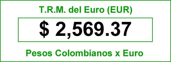 TRM Euro Colombia jueves 25 septiembre de 2014