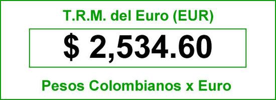 t.r.m. del Euro en colombia para el  miercoles 3 de septiembre de 2014