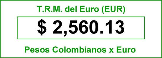 TRM euro hoy miércoles 17 de Septiembre de 2014