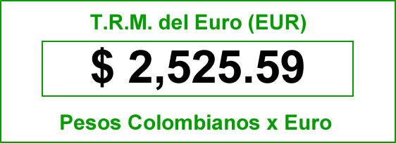 t.r.m. del Euro en colombia para el sábado 20 de septiembre de 2014