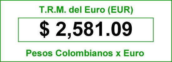 t.r.m. del Euro en colombia para el sábado 13 de septiembre de 2014