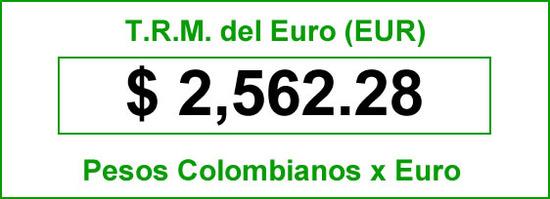 t.r.m. del Euro en colombia para el viernes 12 de septiembre de 2014