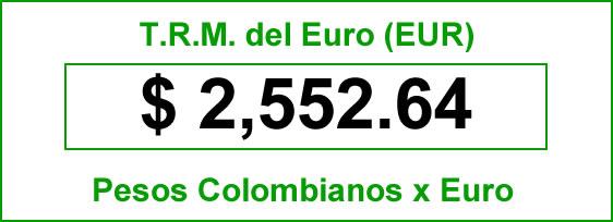 t.r.m. del Euro en colombia para el viernes 19 de septiembre de 2014