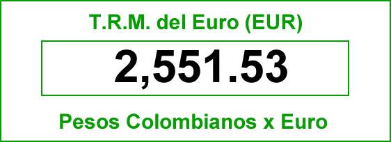 t.r.m. del Euro en colombia para el jueves 2 de octubre de 2014