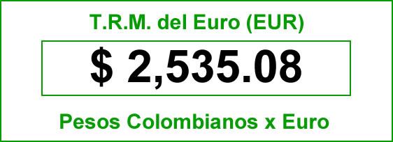 t.r.m. del Euro en colombia para el sabado 4 de octubre de 2014