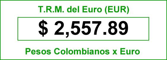 t.r.m. del Euro en colombia para el viernes 3 de octubre de 2014