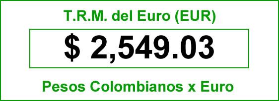 t.r.m. del Euro en colombia para el domingo 5 de octubre de 2014