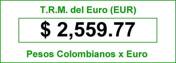 t.r.m. del Euro en colombia para el miércoles 8 de octubre de 2014