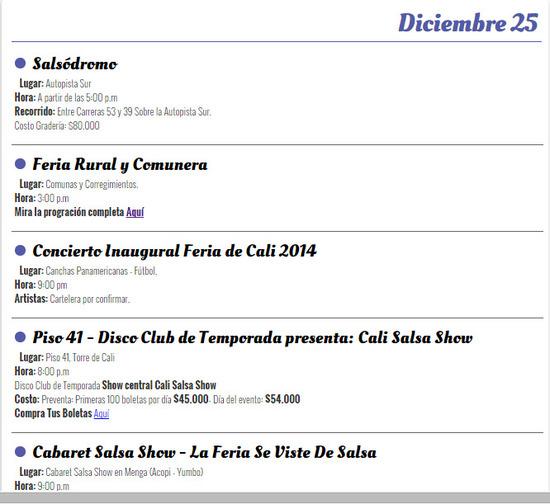 Programación oficial de la feria de cali, 25 de diciembre de 2014