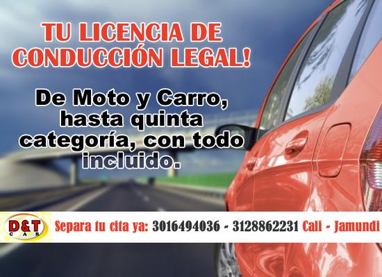 Expedición licencia de conduccion legal para carro y moto en Cali