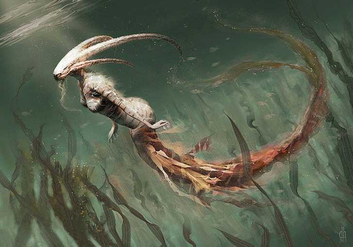 fantásticos monstruos del zodiaco digital art damon hellandbrand acuario Capricornio