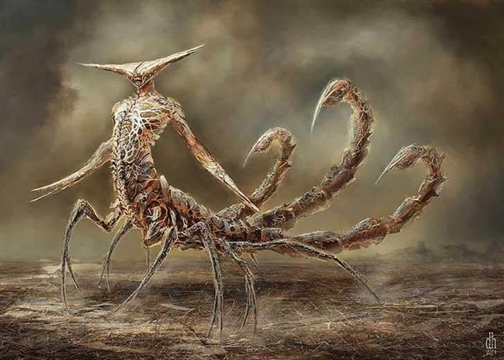 fantásticos monstruos del zodiaco digital art damon hellandbrand acuario Escorpion
