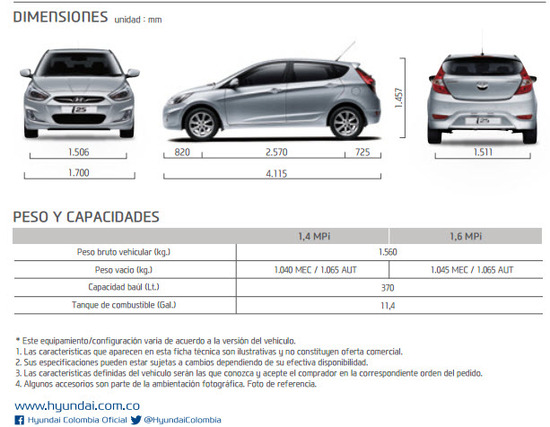 Ficha Técnica Hyundai i25 Hatchback 2015 Dimensiones