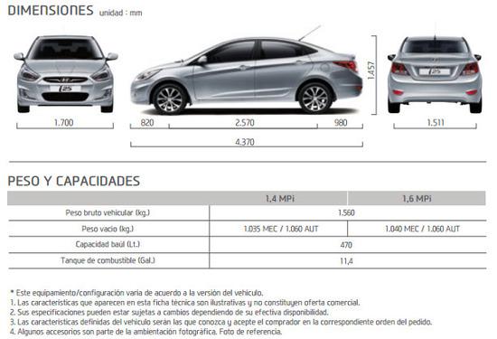 Ficha Técnica Hyundai i25 Sedan 2015 Dimensiones