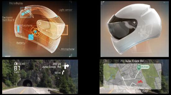 Casco futurista diseñado por compania Livemap
