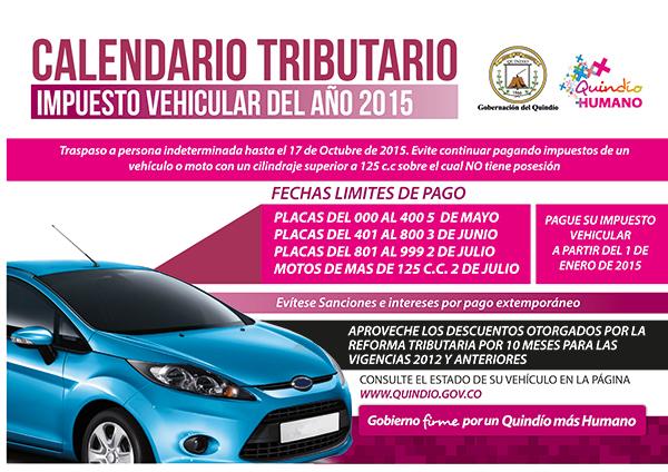 Pago de impuestos de vehículos calendario tributario 2015